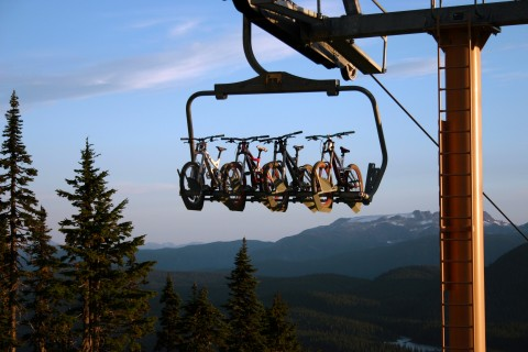 The Hawk Chair carries bikes to the top of Green Line, the mountain's new beginner trail. Credit: Mount Washington Alpine Resort