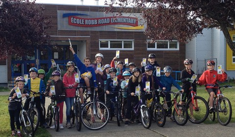 A group of École Robb Road Elementary students actively travel to and from school via bicycle.— Image Credit: Photo Submitted
